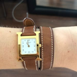 HERMES Heure H PM Watch with brown Leather Strap